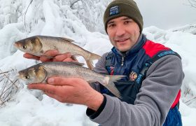 Отчет о рыбалке с фидером на озере Удомля в зимний период.